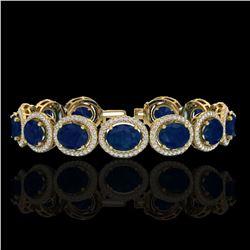 30 ctw Sapphire & Micro Pave VS/SI Diamond Bracelet 10k Yellow Gold