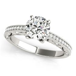 1 ctw Certified VS/SI Diamond Solitaire Antique Ring 14k White Gold