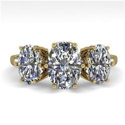2.0 ctw Past Present Future VS/SI Oval Diamond Ring 18k Yellow Gold