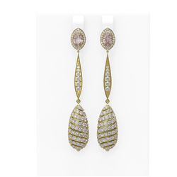 5.88 ctw Morganite & Diamond Earrings 18K Yellow Gold