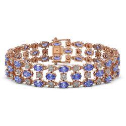 14.8 ctw Tanzanite & Diamond Row Bracelet 10K Rose Gold
