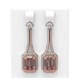 11.01 ctw Morganite & Diamond Earrings 18K Rose Gold