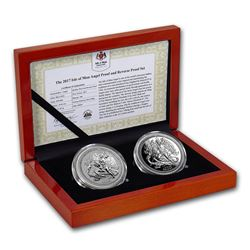 2017 Isle of Man 2-Coin Silver Angel Proof/Reverse Proof Set
