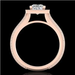 2 ctw Princess VS/SI Diamond Solitaire Micro Pave Ring 18k Rose Gold