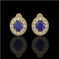 8.84 ctw Certified Sapphire & Diamond Victorian Earrings 14K Yellow Gold