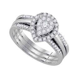 10kt White Gold Round Diamond Teardrop Cluster 3-Piece Bridal Wedding Engagement Ring Band Set 1/2 C