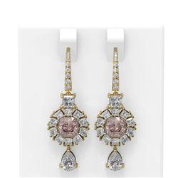 8.51 ctw Morganite & Diamond Earrings 18K Yellow Gold