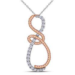 10kt White Gold Round Diamond Rose-tone Rope Infinity Pendant 1/4 Cttw