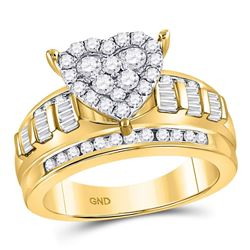 10kt Yellow Gold Round Diamond Heart Cluster Bridal Wedding Engagement Ring 1.00 Cttw