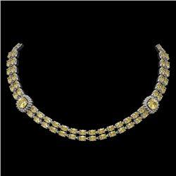 31.61 ctw Citrine & Diamond Necklace 14K White Gold