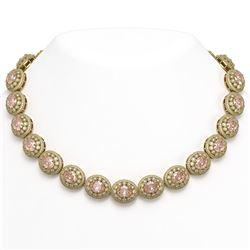 93.04 ctw Morganite & Diamond Victorian Necklace 14K Yellow Gold