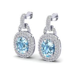 5 ctw Sky Blue Topaz & Micro Diamond Pave Earrings 14 14k White Gold