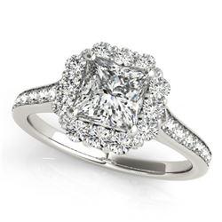 1.5 ctw Certified VS/SI Princess Diamond Halo Ring 14k White Gold