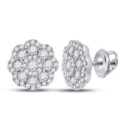 14kt White Gold Round Diamond Flower Cluster Earrings 3/4 Cttw