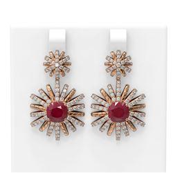 6.23 ctw Ruby & Diamond Earrings 18K Rose Gold