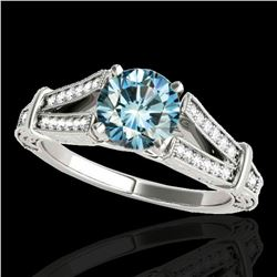 1.25 ctw SI Certified Blue Diamond Solitaire Antique Ring 10k White Gold