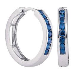 10kt White Gold Round Blue Color Enhanced Diamond Hoop Earrings 1/2 Cttw