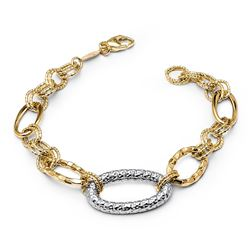 14k Gold Two-Tone Textured Link Bracelet
