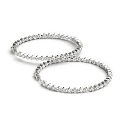 2 ctw Diamond VS/SI Certified 36 MM Hoop Earrings 14k White Gold