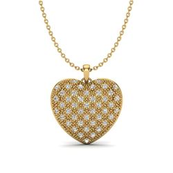 1.0 ctw Micro Pave VS/SI Diamond Heart Necklace 14k Yellow Gold