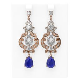 12.64 ctw Sapphire & Diamond Earrings 18K Rose Gold
