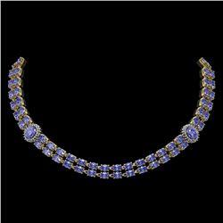 36.19 ctw Tanzanite & Diamond Necklace 14K Yellow Gold