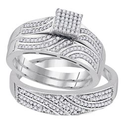 10kt White Gold His & Hers Round Diamond Square Cluster Matching Bridal Wedding Ring Band Set 3/8 Ct