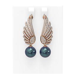 2.16 ctw Diamond & Pearl Earrings 18K Rose Gold
