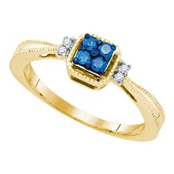 10kt Yellow Gold Round Blue Color Enhanced Diamond Simple Cluster Ring 1/6 Cttw