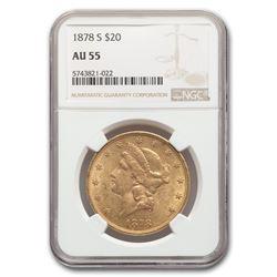 1878-S $20 Liberty Gold Double Eagle AU-55 NGC