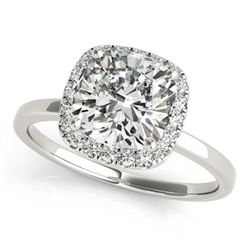 0.92 ctw Certified VS/SI Cushion Diamond Halo Ring 18k White Gold