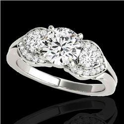 1.7 ctw Certified Diamond 3 Stone Ring 10k White Gold