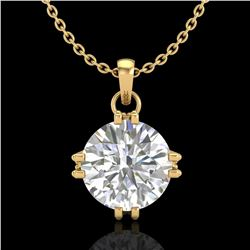 1 ctw VS/SI Diamond Solitaire Art Deco Stud Necklace 18k Yellow Gold