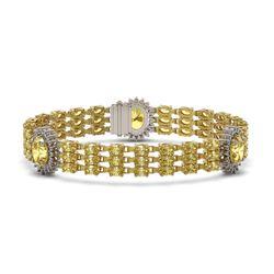 24.46 ctw Citrine & Diamond Bracelet 14K Yellow Gold