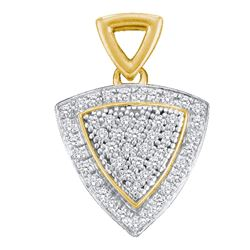 10kt Yellow Gold Round Diamond Triangle Frame Cluster Pendant 1/6 Cttw