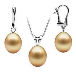 Golden South Sea Drop-Shape Pendant and Earring Set