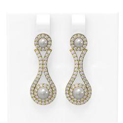2.03 ctw Diamond & Pearl Earrings 18K Yellow Gold
