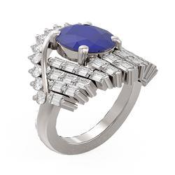 10.48 ctw Sapphire & Diamond Ring 18K White Gold