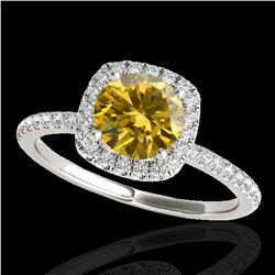 1.5 ctw Certified SI/I Fancy Intense Yellow Diamond Ring 10k White Gold