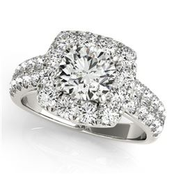 2.5 ctw Certified VS/SI Diamond Solitaire Halo Ring 14k White Gold