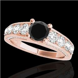 2.55 ctw Certified Black Diamond Solitaire Ring 10k Rose Gold