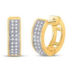 10kt Yellow Gold Round Diamond Double Row Huggie Hoop Earrings 1/6 Cttw