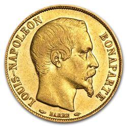 1852-A France Gold 20 Francs Louis Napoleon Avg Circ