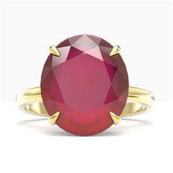 9 ctw Ruby Designer Solitaire Engagment Ring 18k Yellow Gold