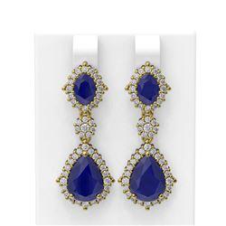 11.38 ctw Sapphire & Diamond Earrings 18K Yellow Gold