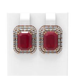 13.25 ctw Ruby & Diamond Earrings 18K Rose Gold