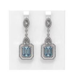 13.73 ctw Aquamarine & Diamond Earrings 18K White Gold
