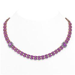 30.47 ctw Amethyst & Diamond Necklace 14K Rose Gold