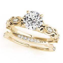 1.21 ctw Certified VS/SI Diamond 2pc Wedding Set Antique 14k Yellow Gold