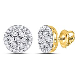10kt Yellow Gold Round Diamond Flower Cluster Earrings 3/8 Cttw